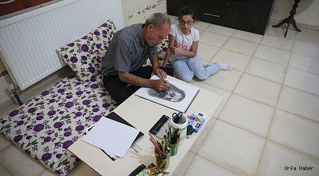Urfa'da Suriyeli ressam çocuklar için çiziyor