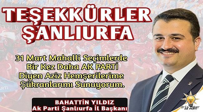 İl Başkanı YILDIZ'dan Zafer Teşekkürü...