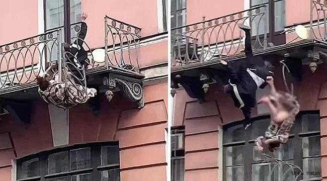 Korkuluk kırıldı, kavga eden çift balkondan düştü!