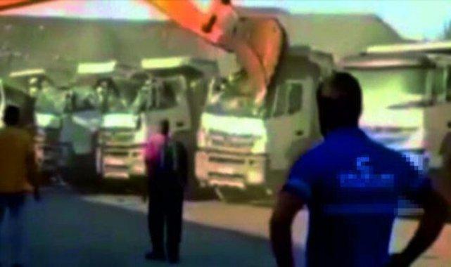 Kepçeyle kamyonları parçalayan operatör konuştu: Olayda mağdur kimse yok